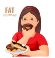 fat woman eats donuts and cake covered with vector image vector image