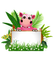 funny hippo with blank sign vector image vector image