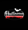 halloween logo on a black background with bat vector image