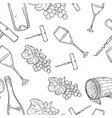 hand drawn pattern of wine vector image vector image