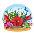 happy crab in ocean vector image