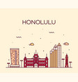 honolulu hawaii usa line style vector image