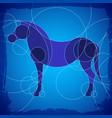 horse decorative blue scheme background vector image vector image