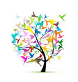 hummingbird tree sketch for your design vector image vector image
