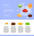 isometric burger ingredients of set vector image