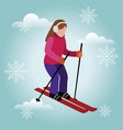 isometric isolated woman skiing cross country vector image