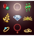 Jewelry realistic icons vector image vector image