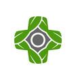 leaf plus medical symbol logo design vector image vector image