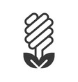 light bulb icon and leaf design vector image vector image