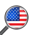 Magnifier with usa flag vector image