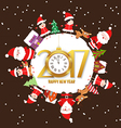 Merry christmas and happy new year 2017 with kids vector image vector image