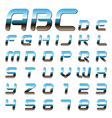 metallic font alphabet vector image