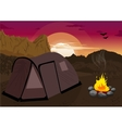 Mountain landscape with camping tent and campfire vector image vector image