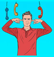 pop art overworked frustrated man closed ears vector image vector image