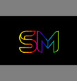 rainbow color colored colorful alphabet letter sm vector image vector image