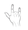 Rock and roll hand sign on a white background vector image vector image