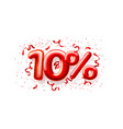 sale 10 off ballon number on white background vector image vector image