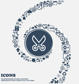 scissors icon sign in the center Around the many vector image vector image