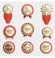 set of flat badges with text and ribbons vector image