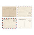 set simple blank postcards vector image vector image