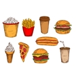Sketched fast food lunch with drinks and ice cream vector image vector image