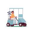 sporty woman cartoon character drives golf car vector image vector image