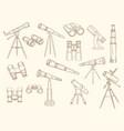 telescope hand drawn retro gadgets for explorer vector image vector image