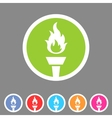 Torch flame fire icon flat web sign symbol logo vector image vector image
