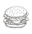 vintage burger drawing hand drawn vector image vector image