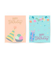 watercolor birthday greeting card with red ribbon vector image
