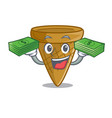 with money empty wafer cone for ice cream vector image