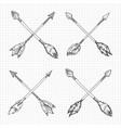 hand drawn arrows cross vector image