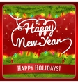 New Year greeting card decorated by pine wreath vector image