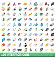100 interface icons set isometric 3d style vector image vector image
