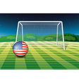 A soccer ball at the field with the flag of the vector image vector image