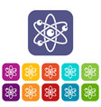 atom with electrons icons set flat vector image vector image