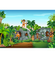 Cave people living in the forest vector image vector image