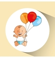 cheerful baby gift and balloons design vector image vector image
