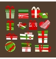 Christmas gift boxes icons set for holidays vector image