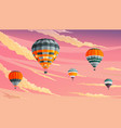 clouds and striped hot air balloons against a vector image