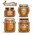 coconut jam in glass jars vector image vector image