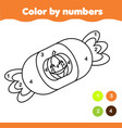 coloring page with halloween candy color by vector image vector image