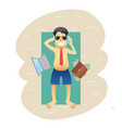 conceptual business flat banner man on weekends vector image vector image
