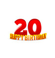 congratulations on 20th anniversary happy vector image vector image