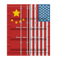 container with flag of united states and china vector image