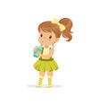 cute brown-haired girl drinking her refreshing vector image vector image