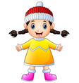 cute little girl in winter clothes waving vector image vector image