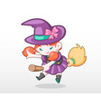 cute style girl in witch costume vector image
