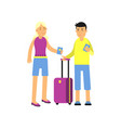 flat cartoon man and woman tourists characters vector image