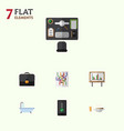 flat icon life set of bureau lunch router and vector image vector image
